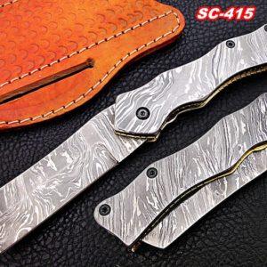 Full Damascus folding knives