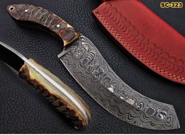 Handmade Damascus Cleaver sheep horn