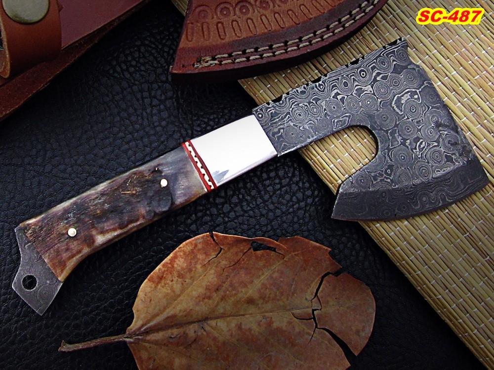 8″ custom made Damascus steel axe
