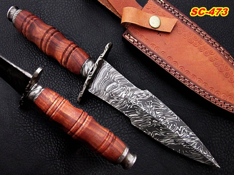 12″ Damascus steel dagger Knife Rose wood