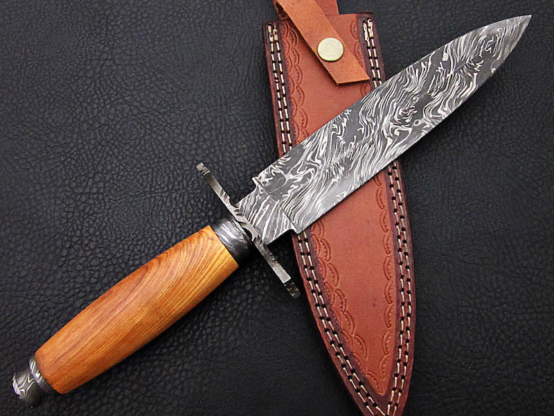 12″ Hand Forged Damascus dagger Olive wood