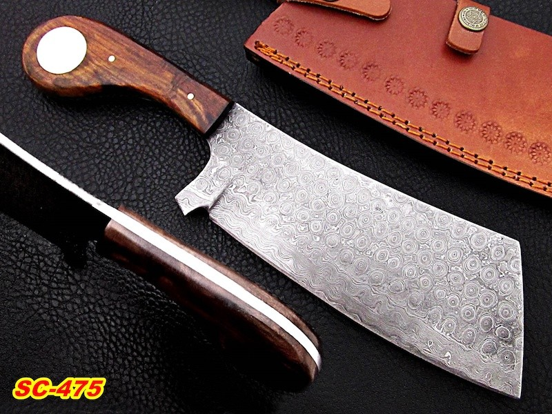 Damascus steel Cleaver Rose wood handle