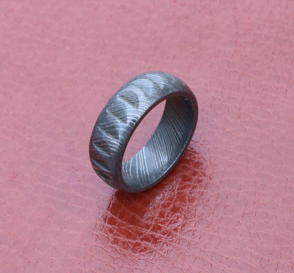 Hand forged Damascus wedding band for men