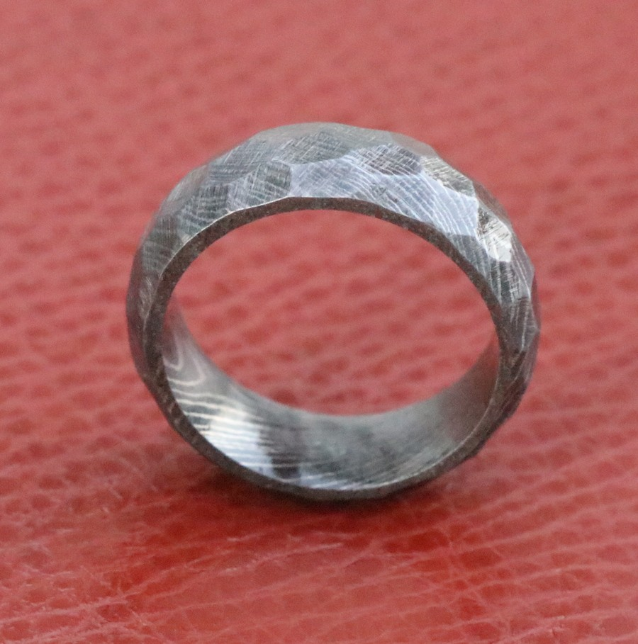 Damascus Steel Wedding Band Hammered Rock