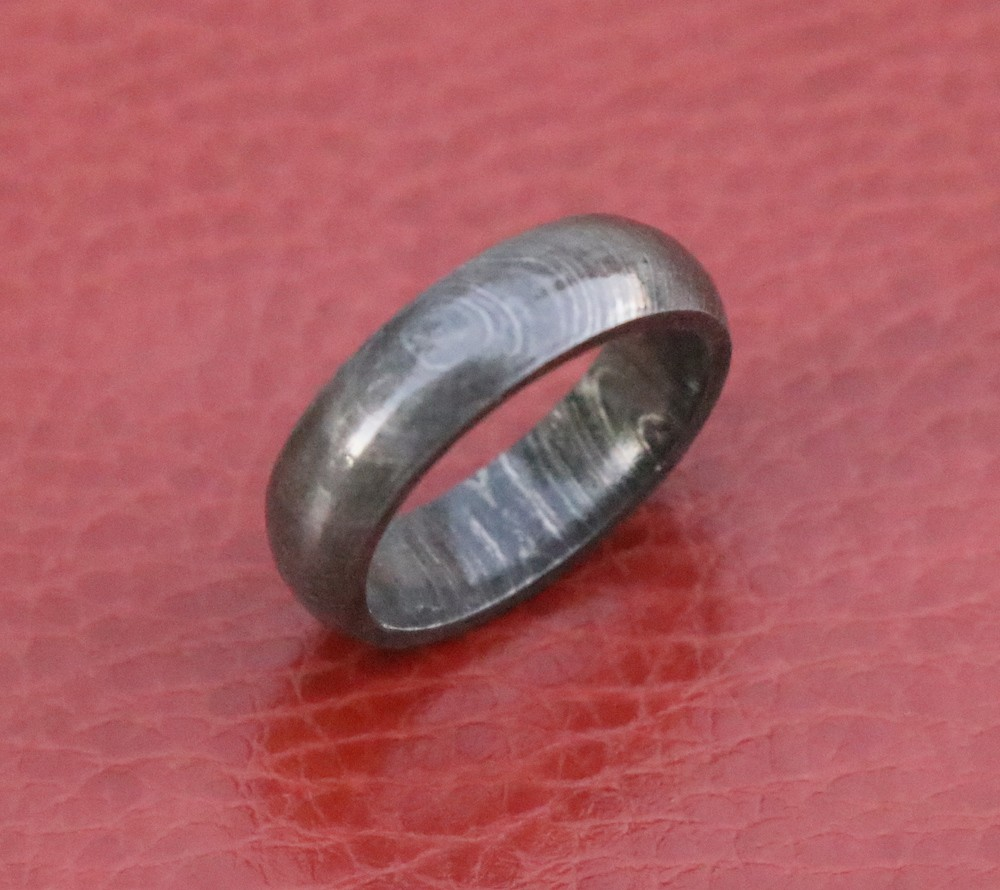 Custom Damascus steel wedding band