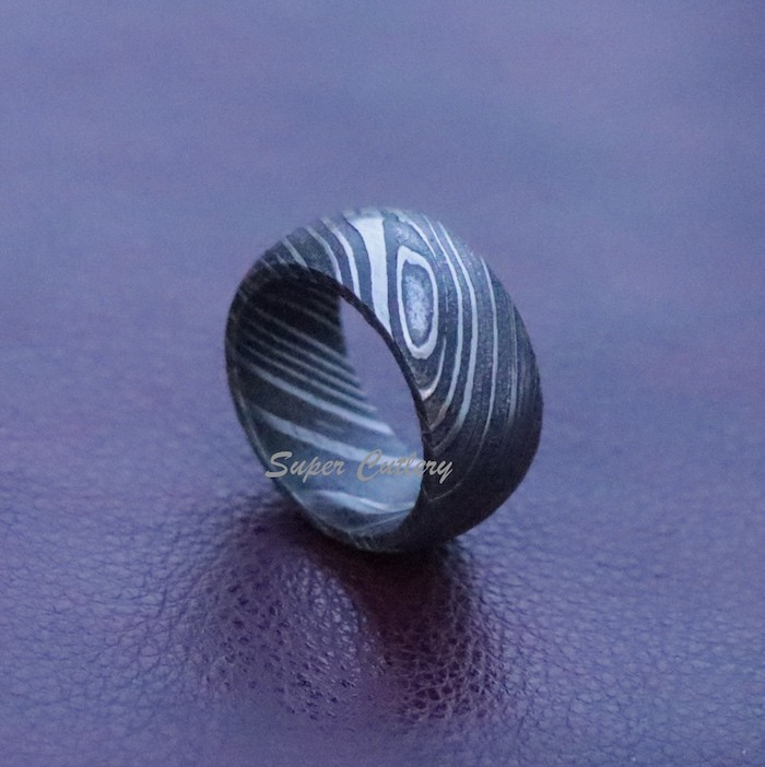 Damascus dark Damascus ring