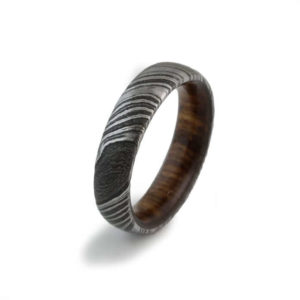 Men Damascus steel Dome engagement