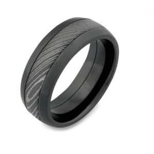 Dark Damascus steel Wedding ring