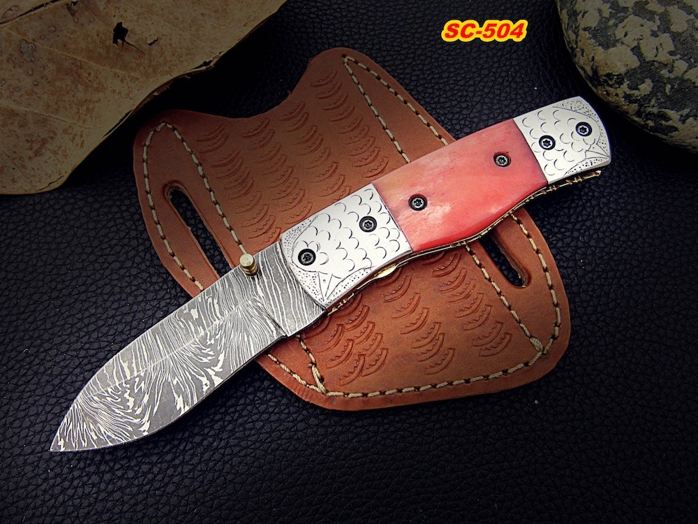 Hand forged Pocket knife with color Bone