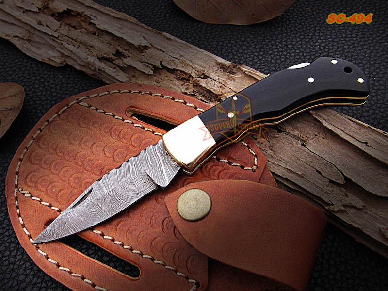 7 inches Damascus steel pocket folding knife