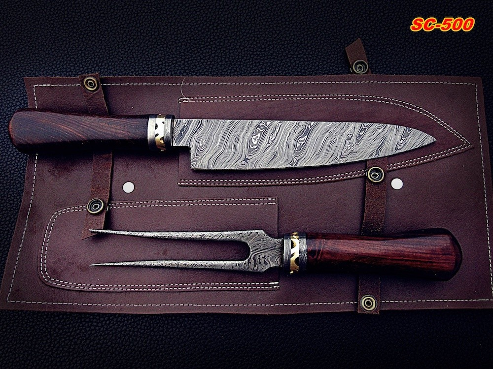 Hand Forged Damascus fork and chef knife set