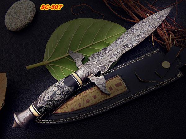 Damascus Steel Dagger Knife Bull Horn Handle Scrimshaw Wolf