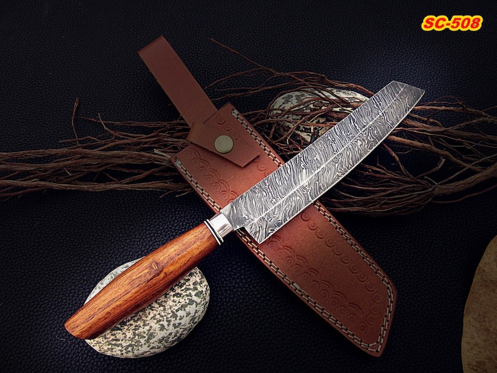 13 Quot Damascus Chef Knife Rose Wood Handle