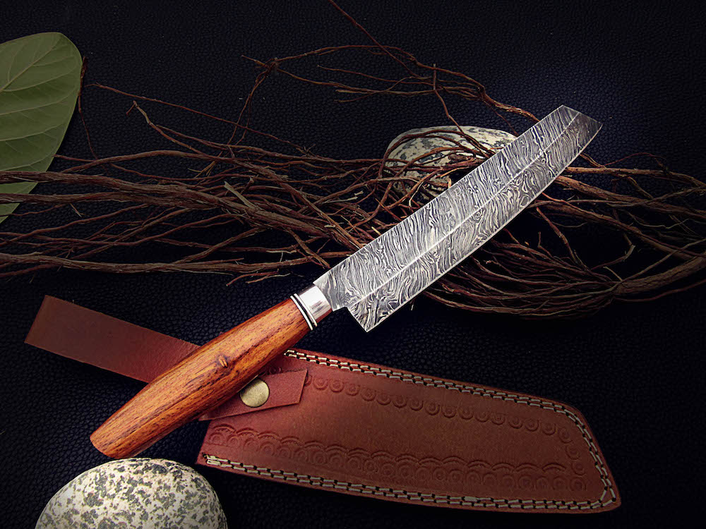 hand made kitchen knives 13 quot damascus chef knife rose wood handle 4904