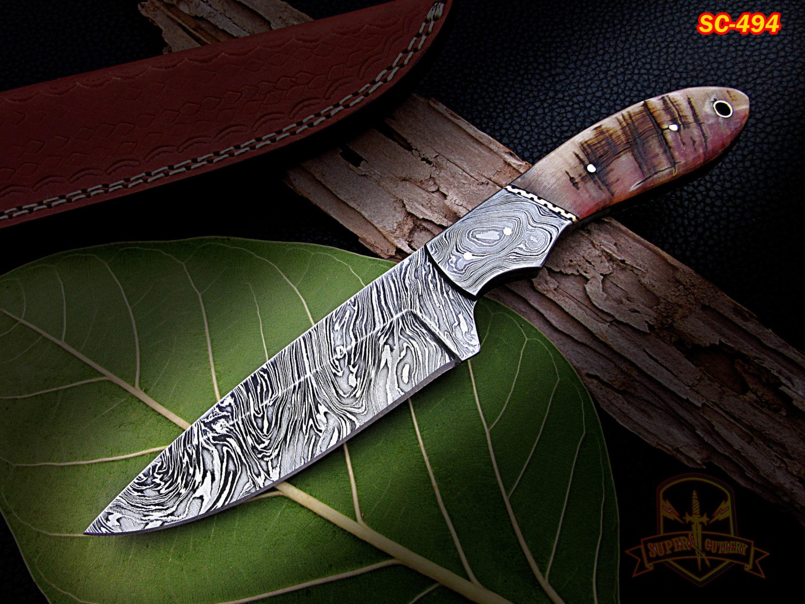 10 inches custom made Damascus steel hunting knives