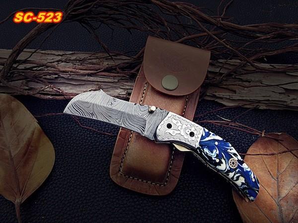 Damascus Pocket knife Blue Resin sheet
