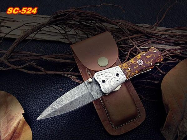Damascus Pocket knife Brown Resin sheet