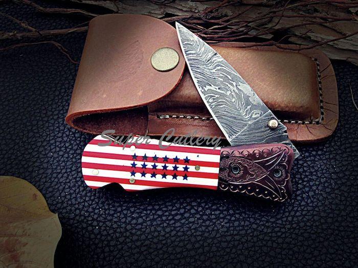 Damascus Pocket knife Stars stripe handle