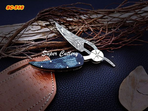 Blue handle folding knife