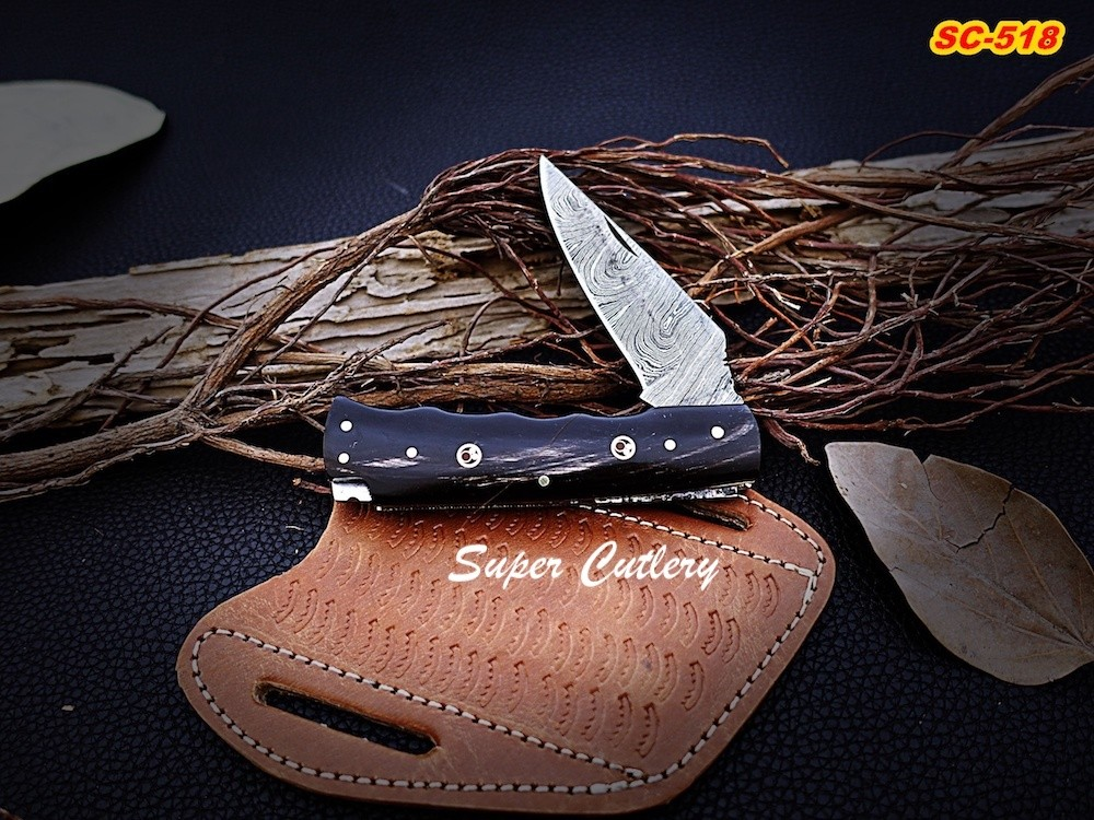 Damascus Folding knives with Bull Horn