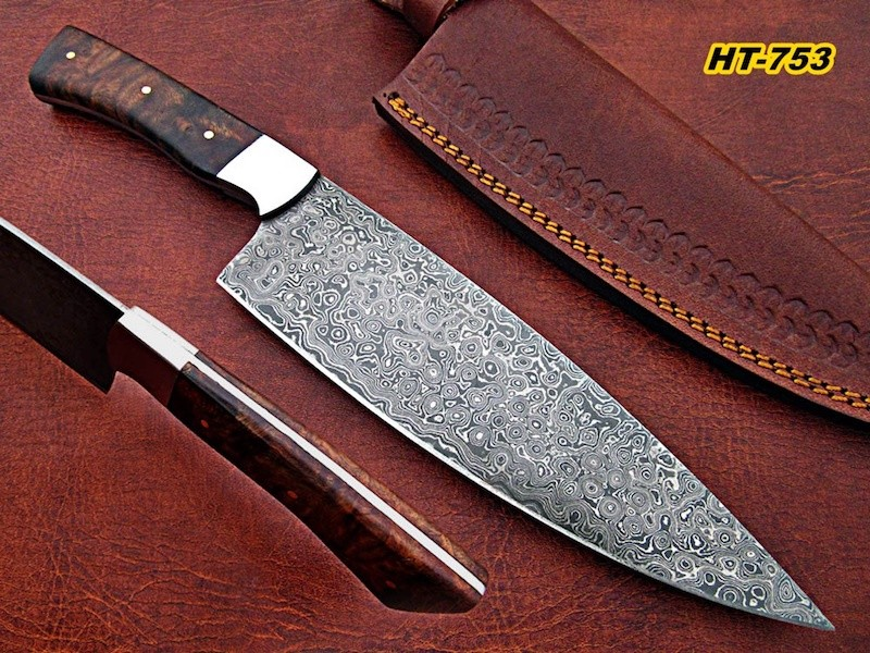 hand made damascus chef knife rose wood handle
