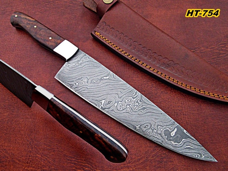 Hand Forged Damascus Chef Knife Rose wood