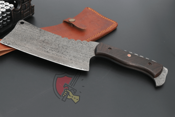 Hand forged Damascus Cleaver