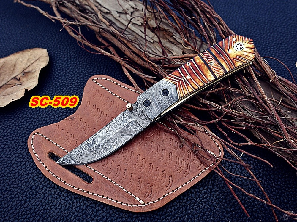 Handmade Damascus steel Folding knife flamed bone