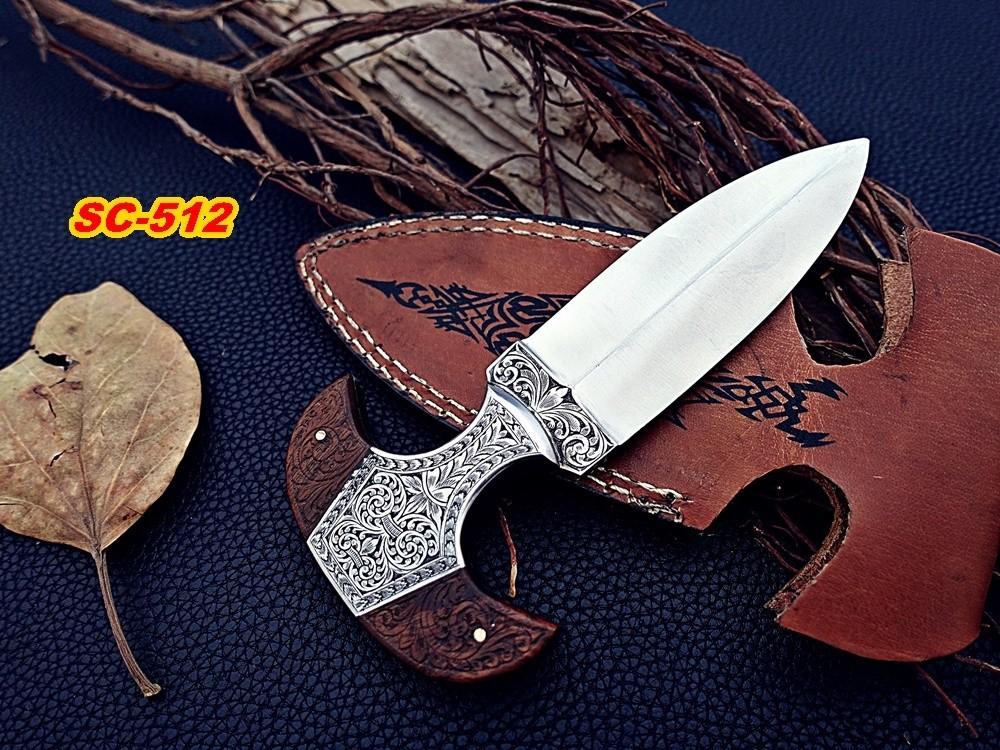 D2 steel dagger Knife Rose wood Engraved