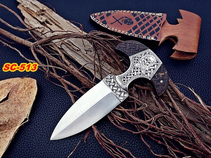 D2 steel dagger Knife Rose wood Etched