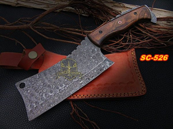 Damascus steel Cleaver Walnut Handle