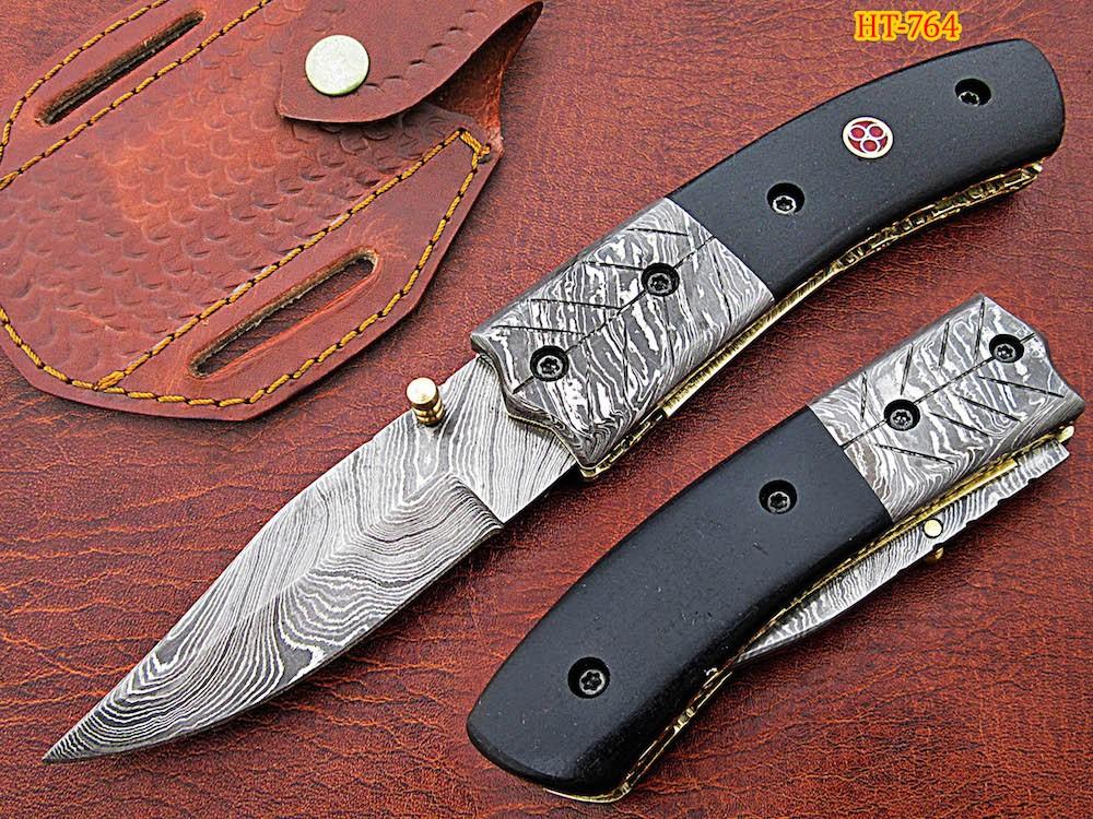 Damascus pocket knife Micarta sheet