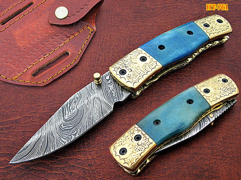 Damascus steel Folding Knife Colored Bone