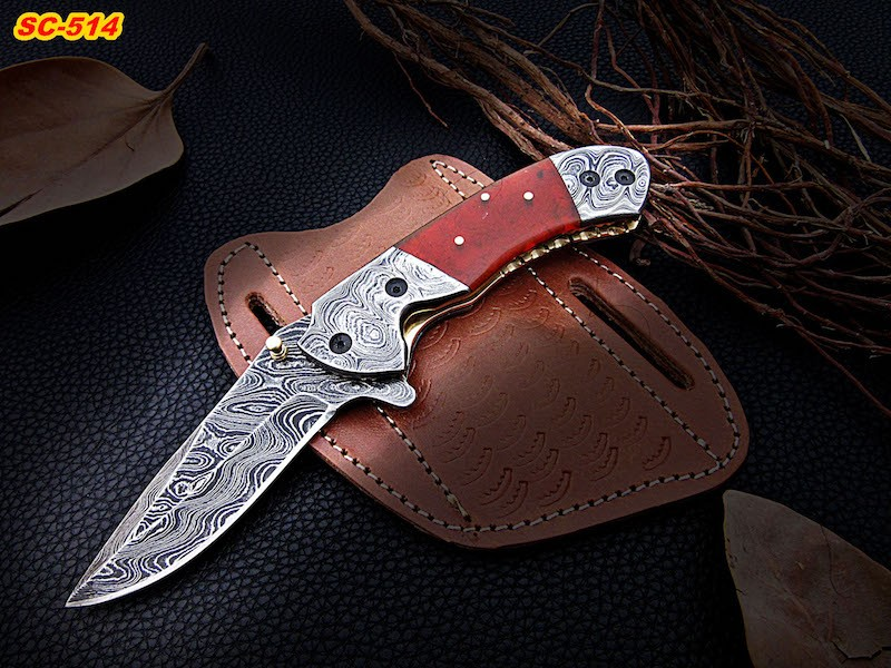 Damascus handmade pocket knives