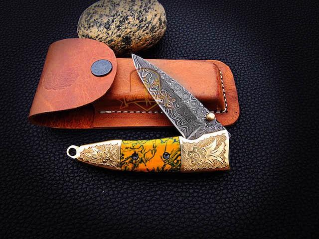 Damascus pocket knives folding resin sheet knives