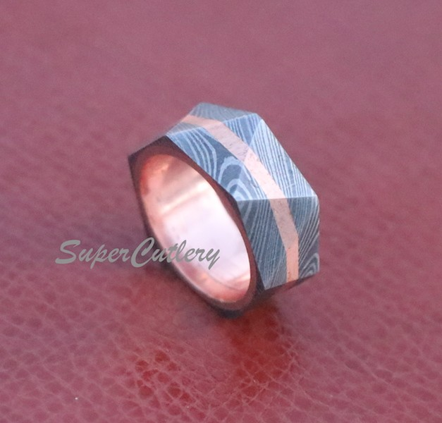 Handmade Damascus Steel Wedding Rhombus Triangle Design with Copper lining