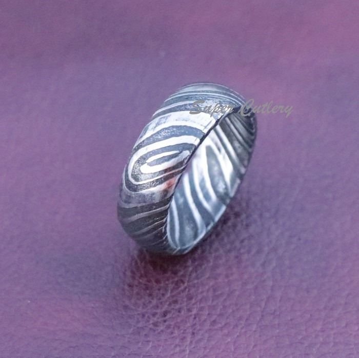 8mm men Damascus steel Band