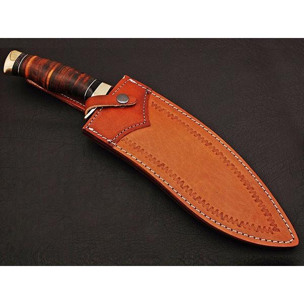 Custom made Damascus kukri leather handle