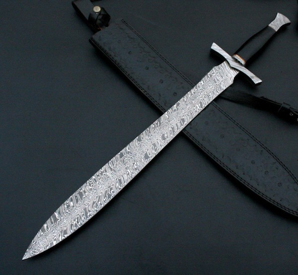 30 inches overall length Damascus Steel Sword    A-014 22 inches long Damascus steel sword blade with indented designed blade 8 inches bull horn with Back Damascus steel Bolster, Thumb Guard handle Ladder Pattern Damascus Steel Blade