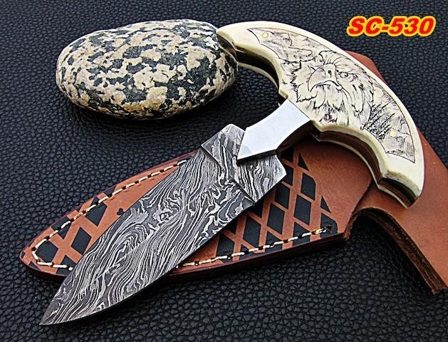 Damascus dagger Knife Camel bone scrimshaw eagle