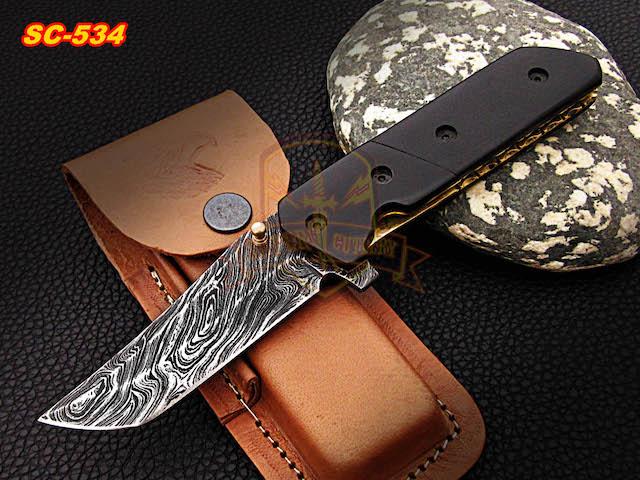 Damascus folding and pocket knife