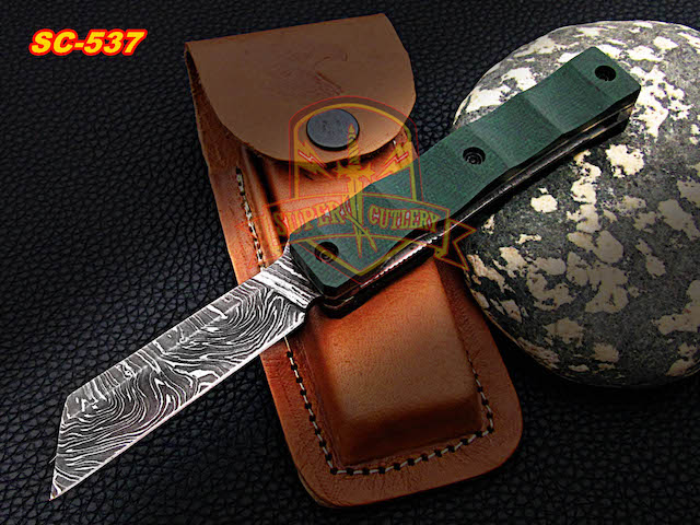 Hand forged Damascus Razor Folding Knive