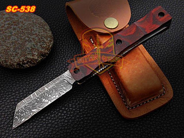 Custom damascus steel rosewood folding knife
