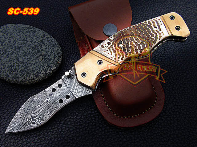 Damascus Folding knives Turtle skin handle