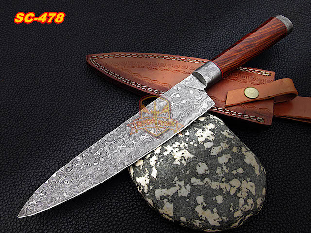 Handmade Damascus Steel Chef knife Rosewood Handle Raindrop
