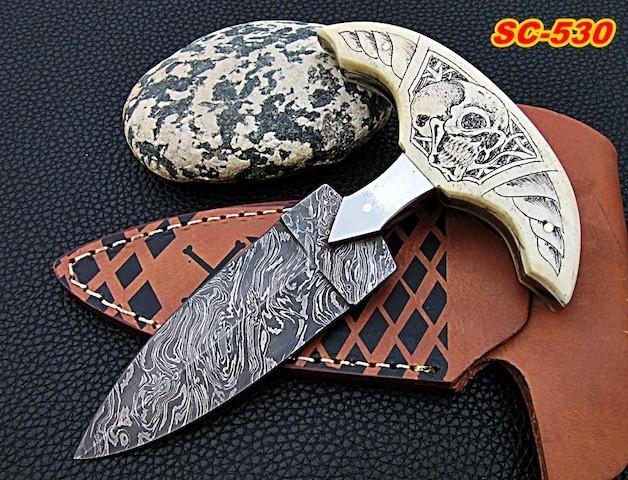 Damascus dagger Knife Camel bone scrimshaw skull