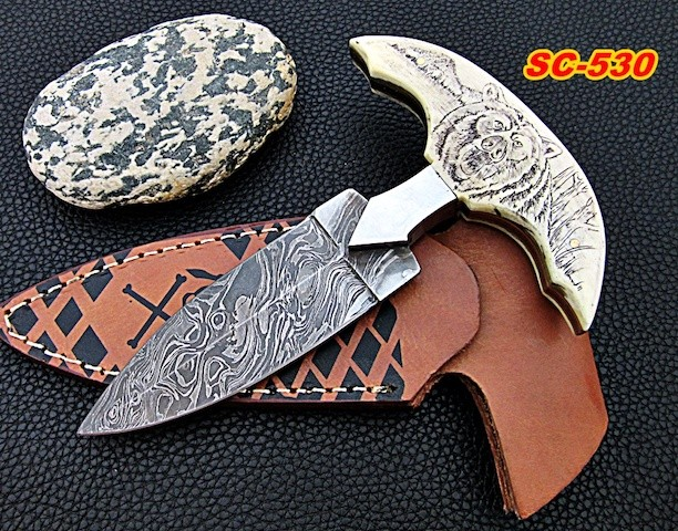 Damascus dagger Knife Camel bone scrimshaw bear