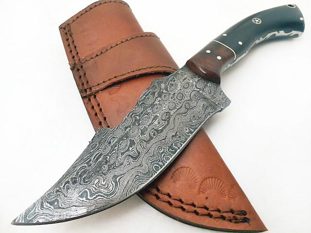 Custom handmade Damascus Knife Rosewood Buffalo Horn Mosaic handle