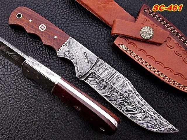 Damascus steel Bowie knife Rosewood