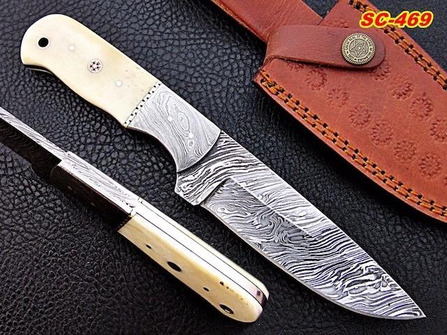 Damascus Bowie skinner knife Camel bone